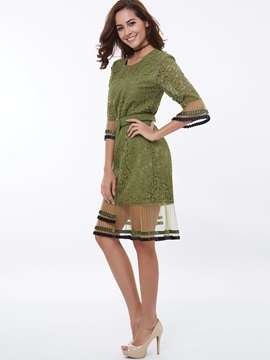 Patchwork Half Sleeve Day Dress