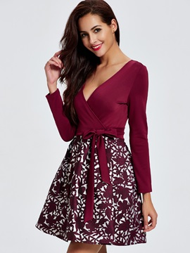 Floral Print V-Neck Patchwork Women's Skater Dress