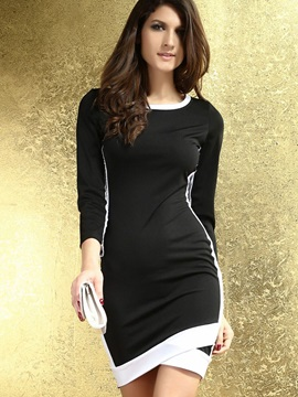Color Block Round Neck 3/4 Sleeve Work Dress
