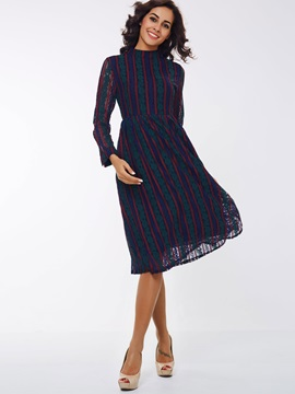 Stand Collar Nine Points Sleeve Hollow Day Dress
