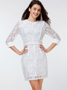 Floral 3/4 Sleeve Patchwork Bodycon Dress