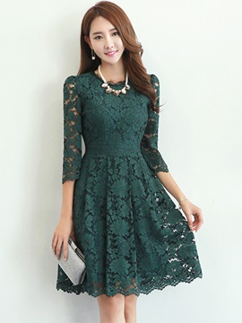 Floral Round Neck 3/4 Sleeve Lace Dress
