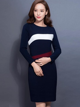 Color Block Round Neck Long Sleeve Bodycon Dress