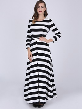 Vertical Striped Round Neck Expansion Maxi Dress
