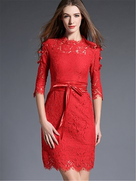 3/4 Sleeve Hollow Bowknot Lace Dress