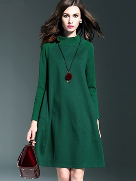 Solid Color Stand Collar A-Line Day Dress