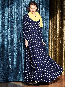 Polka Dots Patchwork Belt Maxi Dress