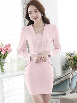 Solid Falbala Double-Layer Work Dress