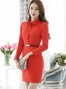 Polo Neck Single-Breasted Belt Work Dress