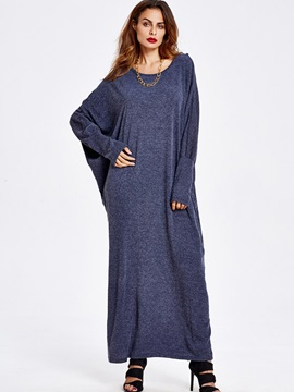 Solid Batwing Sleeve Pullover Maxi Dress