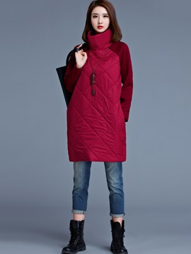 Turtleneck Pocket Patchwork Day Dress