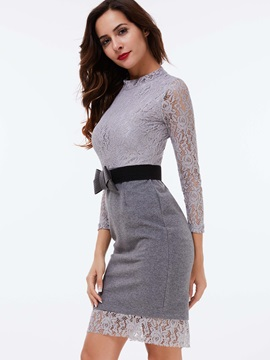 Nine Points Sleeve Lace Patchwork Bodycon Dress