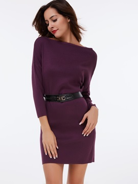 Slash Neck Zipper Nine Points Sleeve Bodycon Dress