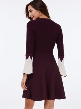 Flare Sleeve Pullover Round Neck Day Dress