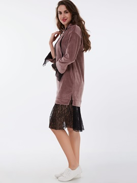 Hooded Double-Layer Patchwork Day Dress