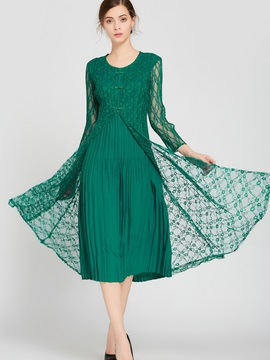 Round Neck Pleated Ethnic Day Dress