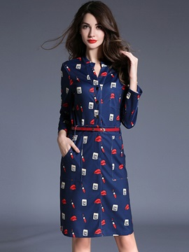 Floral Print Stand Collar Single-Breasted Bodycon Dress