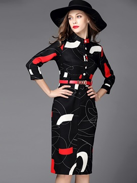 Geometric ContrastColor Single-Breasted Work Dress