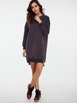 Color Block Pullover Round Neck Day Dress