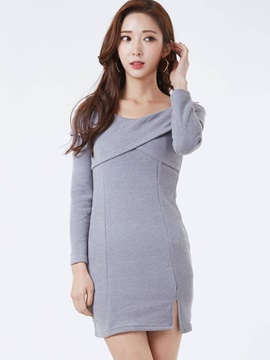 V-Neck Off-the-Shoulder Split Sweater Dress