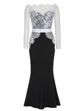 Slash Neck Lace Patchwork Maxi Dress
