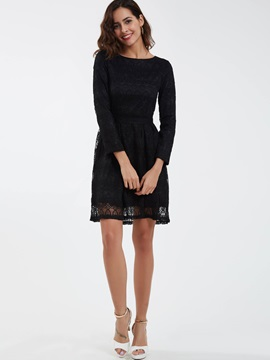 Sweet Round Neck Hollow Lace Dress