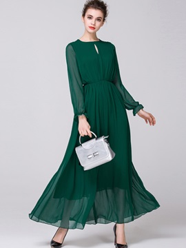 Round Neck HollowMesh  Dress