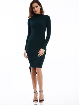 Plain Turtleneck High-Low Sweater Dress