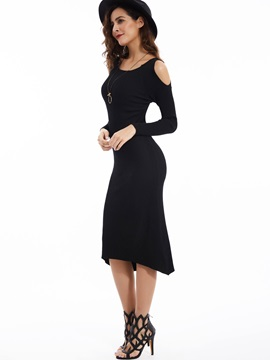 Solid Round Neck Off-the-Shoulder Sweater Dress