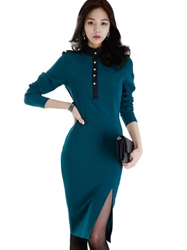 Stand Collar Button Epaulet Bodycon Dress
