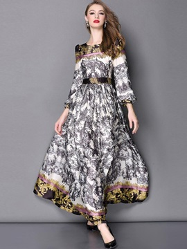 Floral Pullover Expansion Maxi Dress