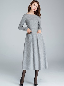 Round Neck Pocket Empire Waist  Dress