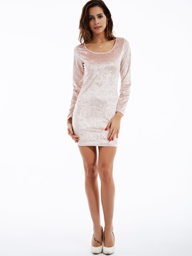 Solid Round Neck Pullover Bodycon Dress