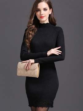 Solid Color Turtleneck Patchwork Sweater Dress