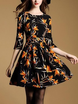 Print 3/4 Sleeve Round Neck Skater Dress