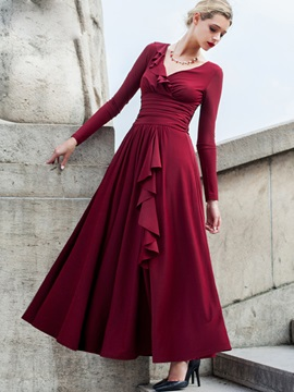V-Neck High-Waist Pleated  Dress