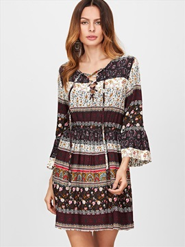 Floral 3/4 Bell Sleeves Women's Day Dress