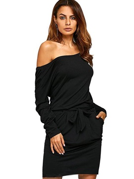 Black Off Shoulder Long Sleeve Bodycon Dress