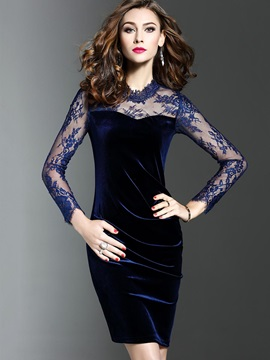 Elegant Solid Color Long Sleeve Lace Bodycon Dress