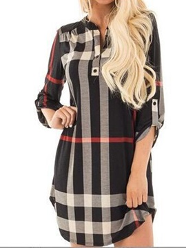 Stamp 3/4 Sleeves Women's Dress