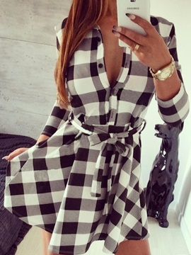 Lattice Long Sleeve Lace-Up Women's Shirt Dress