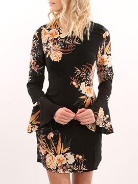 Floral Long Sleeves Volant Women's Dress