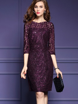 Purple Long Sleeve Round Neck Lace Dress
