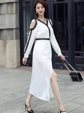 V Neck Long Sleeve Women's Maxi Dress