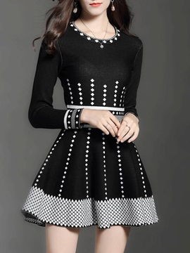 Long Sleeve Round Neck Skater Dress