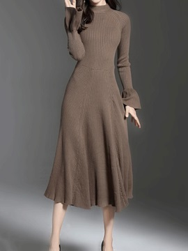 Chic Solid Color Long Sleeve Women's Long Day Dress