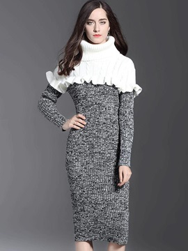 Long Sleeve Turtle Neck Women's Sweater Dress