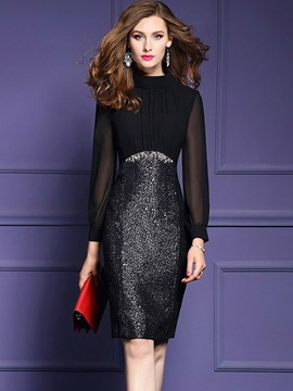 Long Sleeve Patchwork Women's Bodycon Dress