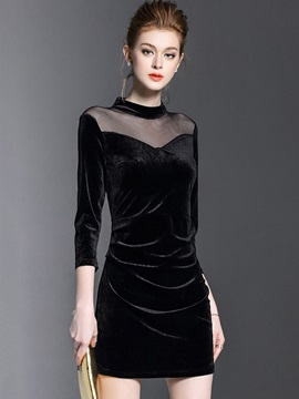 Black Velvet Mesh Patchwork Long Sleeve Women's Bodycon Dress