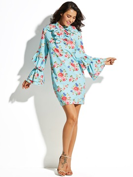Floral Print Ruffled Collar Flare Sleeve Women's Bodycon Dress